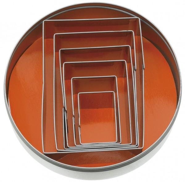 AUSSTECHER-S. RECHTECK GLATT INOX 6-TLG.